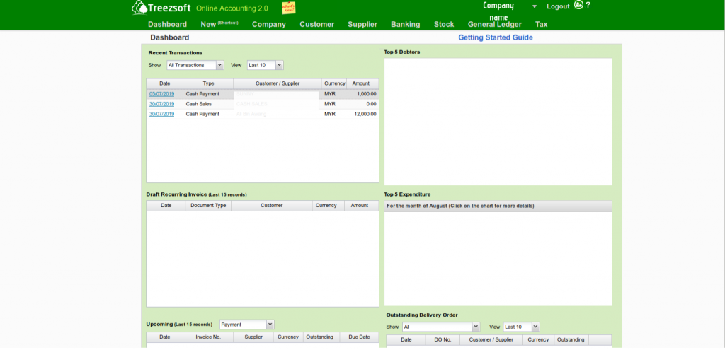 Clouid accounting screenshot